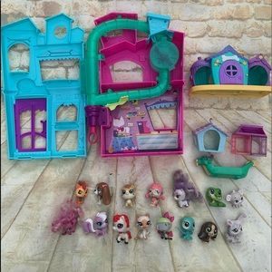 littlest pet shop clubhouse with 15 pets